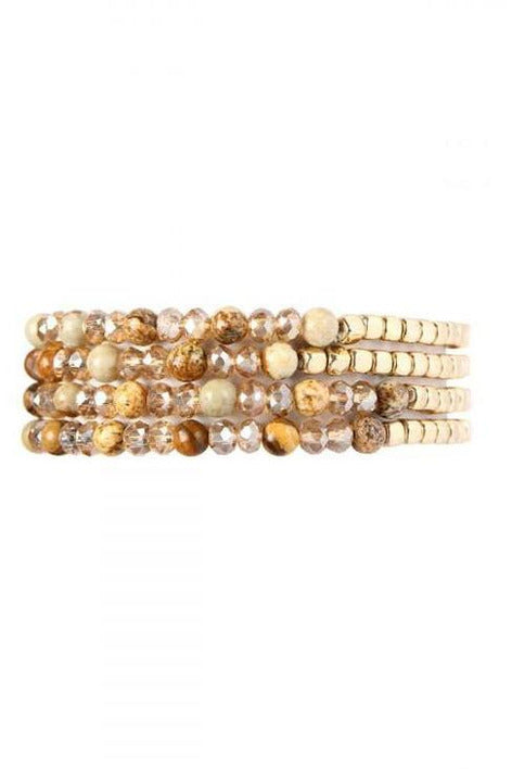 BROWN BRASS, STONE, GLASS BEAD BRACELET - RMC Boutique