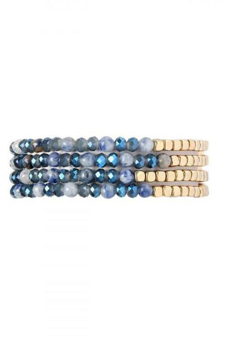 MONTANA BLUE BRASS, STONE, GLASS  BEADS BRACELET - RMC Boutique