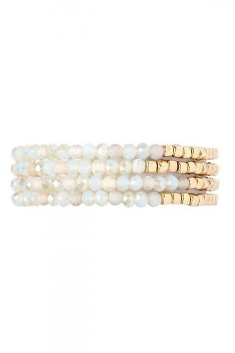 NATURAL BRASS, STONE, GLASS FOUR  BEAD BRACELET - RMC Boutique
