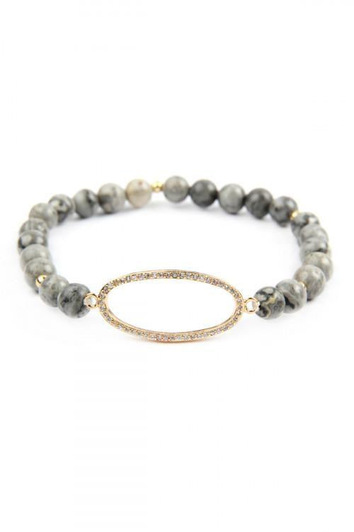 Natural Stone Bead and Grey Oval Bracelet, Smokey Jasper - RMC Boutique