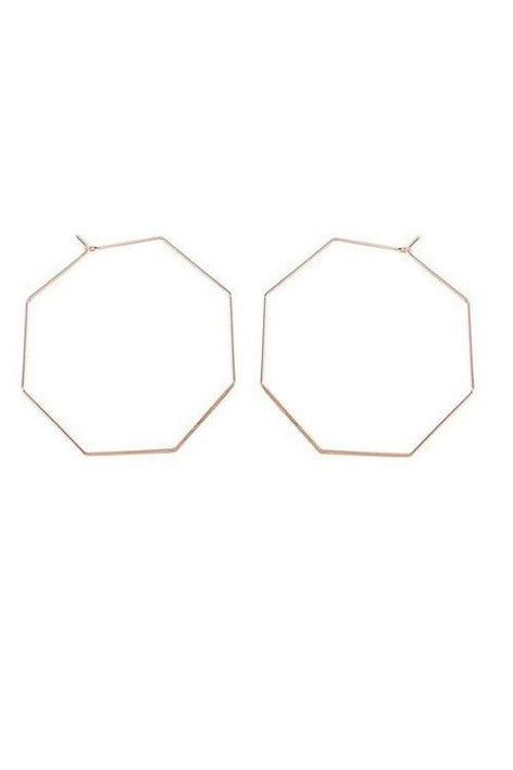 ROSE GOLD OCTAGON BRASS EARRING