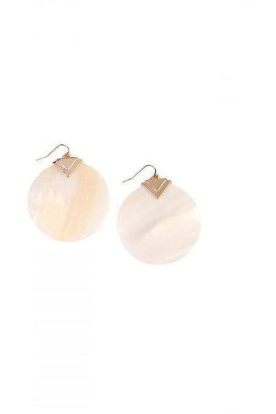 White Mother Of Pearl Disk Dangle Earrings