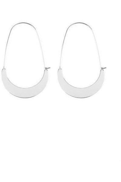 Silver Tone Quarter Moon Hoops