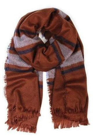 Oversized Blanket Scarf, Brown/Navy