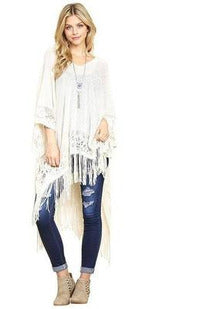 Soft Lace Tassel Poncho - RMC Boutique