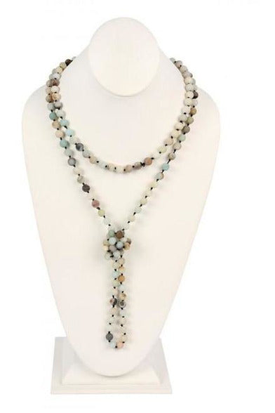 Amazonite  Natural  Stone HAND KNOTTED LONG NECKLACE   - RMC Boutique