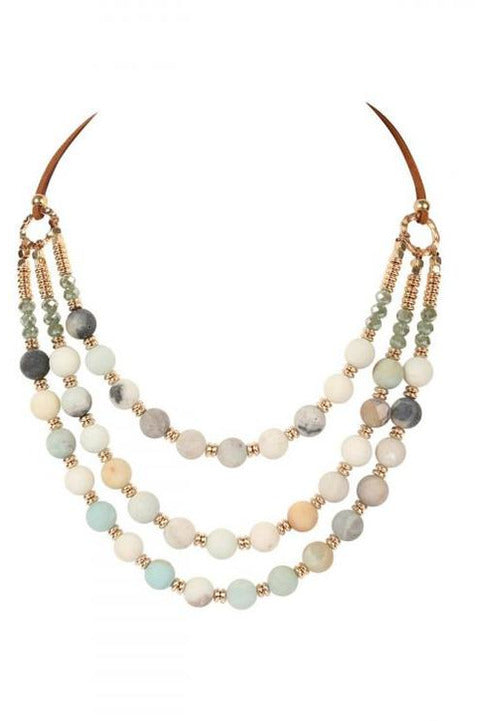 Amanzonite Three Layer Leather And Stone Necklace - RMC Boutique
