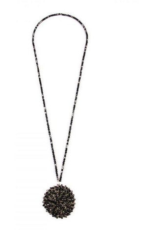 Black and Gray Swirl Glass Bead Disc Pendant Necklace - RMC Boutique