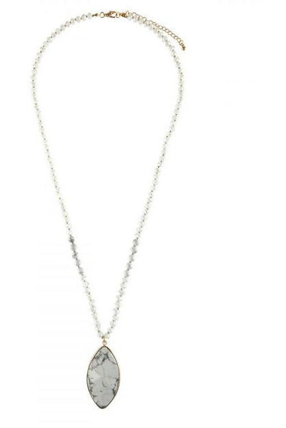 Beveled Marque Shape Stone With Long Bead Strand Necklace - RMC Boutique