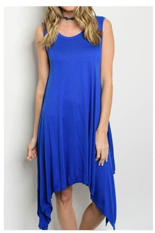 Heavenly High Low Jersey Dress, Royal Blue