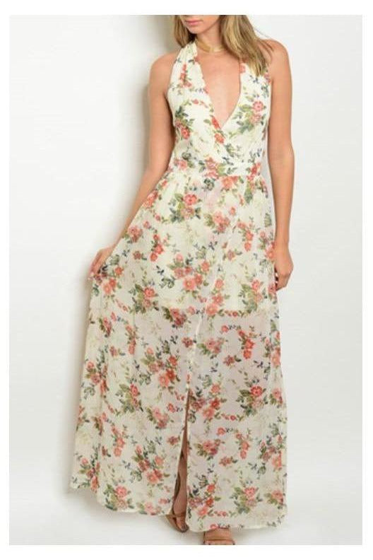 Hopeless Romantic, Halter Style Floral Maxi Dress