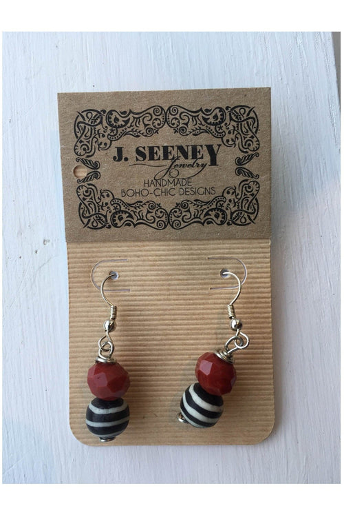 Red & Black Drop Earrings - RMC Boutique