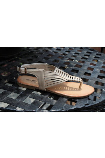 Tribal Design Sandals, Beige - RMC Boutique