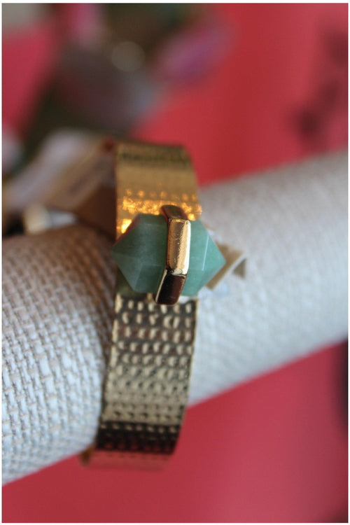 Hammered Down Cuff With Stone - RMC Boutique