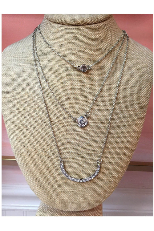 Dainty Three Layer Necklace, Silver - RMC Boutique