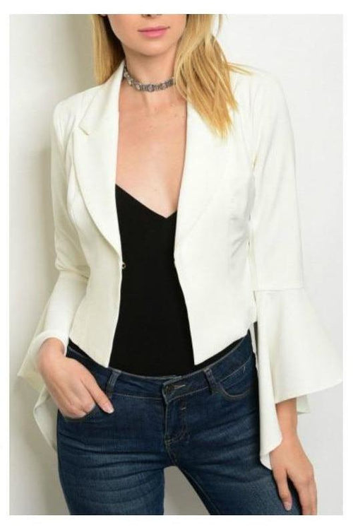 I'll Have It My Way, Bell Sleeve Blazer, Ivory