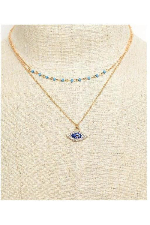 Evil Eye Layered Dainty  Necklace