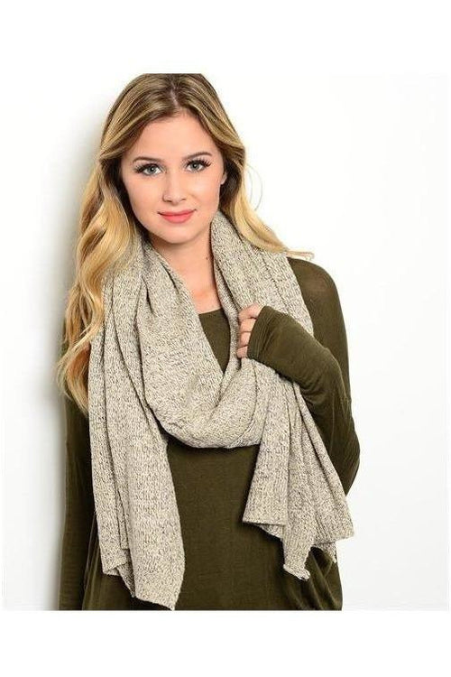 Heather-ed Knit Scarf, Oatmeal - RMC Boutique
