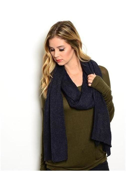 Heather-ed Knit Scarf, Navy - RMC Boutique