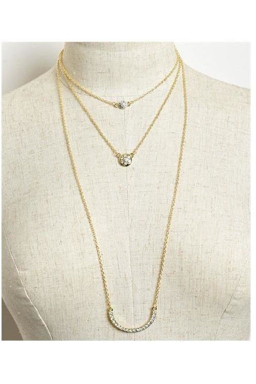 Dainty Three Layer Necklace, Gold - RMC Boutique