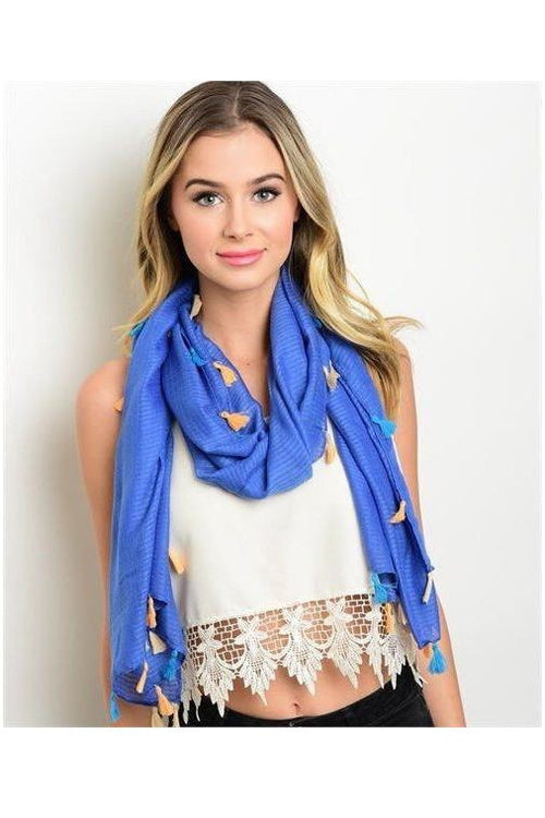 Pom Pom Scarf, Blue - RMC Boutique