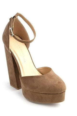 Madeline: STARSTRUCK IN MEDIUM TAUPE OPEN TOE BOOTIES