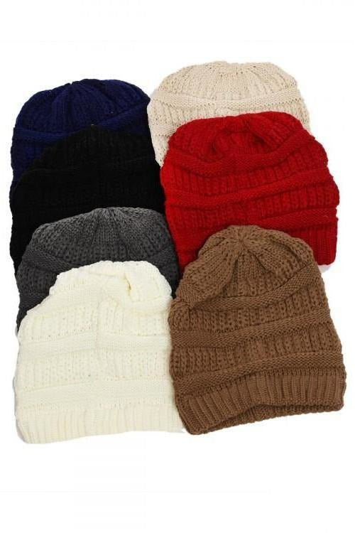 Ribbed Cold Weather Beanie, Assorted Colors