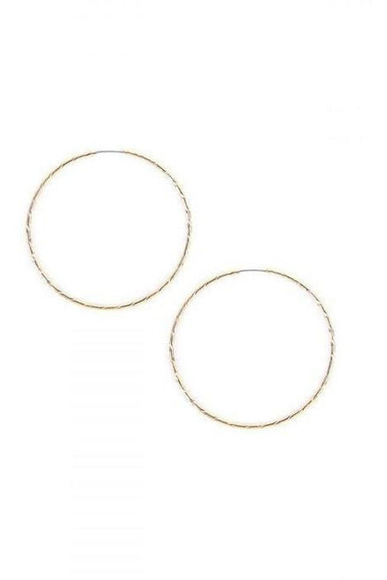 Hammered Detail  Round Hoop Earrings