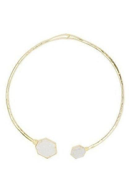 Kendra Scott : Coursen Hinge Necklace in Iridescent Window Drusy - RMC Boutique