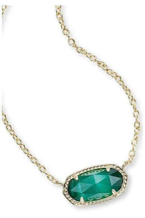 Kendra Scott: Elisa Gold Pendant Necklace in Emerald Green Catseye - RMC Boutique  - 1