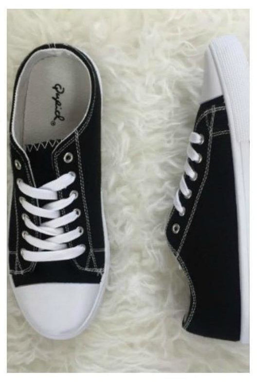 Lace Up Sneakers - Black Canvas - RMC Boutique  - 1