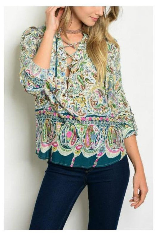 Lace Up Paisley Tunic Top, Green