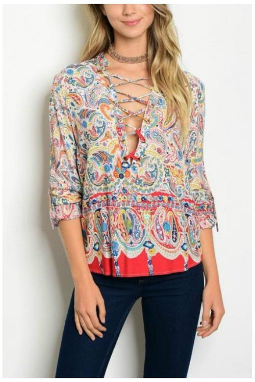 Lace Up Paisley Tunic Top, Red
