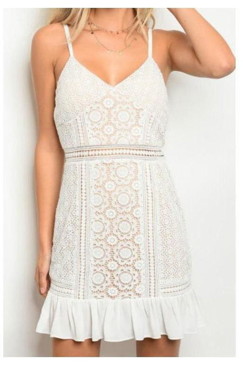 Leave Them Speechless, White Lace Crochet Dress