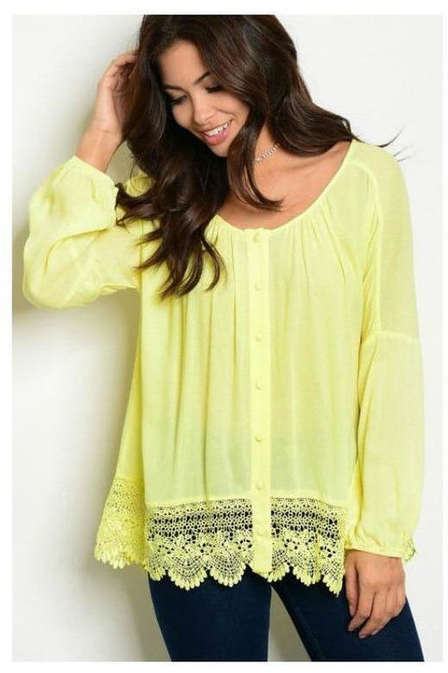 Long Sleeve Lace Trim Top, Lime