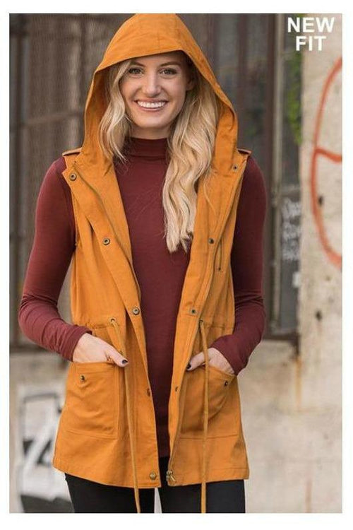 Women's Drawsting Hooded Vest - RMC Boutique