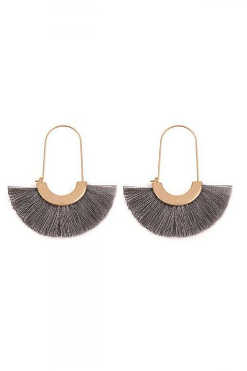 Slate Grey Fringe Earrings - RMC Boutique