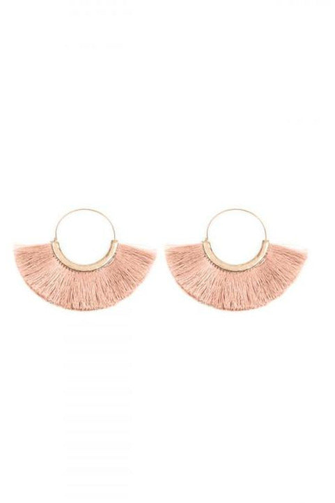 Blush Pink Thread Tassel Earrings - RMC Boutique