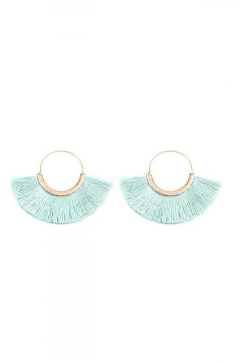 Mint Thread Tassel Earrings - RMC Boutique