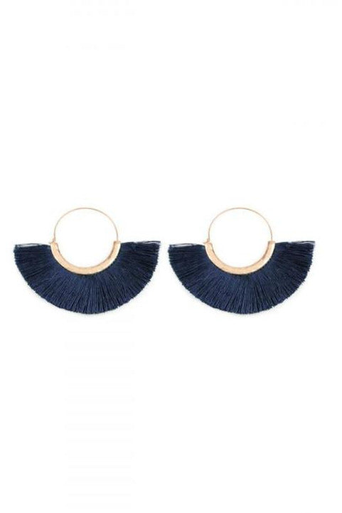 Navy Blue Thread Tassel Earrings - RMC Boutique