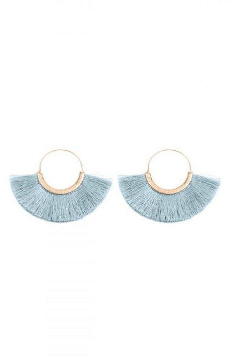 Sky Blue Thread Tassel Earrings - RMC Boutique