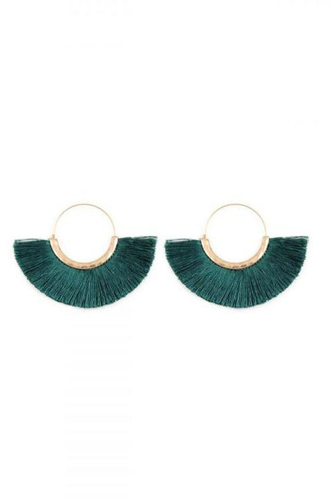 Teal Thread Tassel Earrings - RMC Boutique