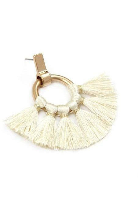 Ivory And Gold Tassel Earrings - RMC Boutique
