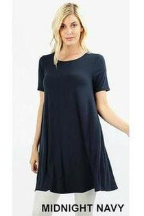 Short Sleeve Round Neck Tunic Dress With Pockets, New Colors