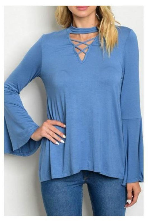 Mock Neck Criss Cross Long Sleeve Top, Dusty Blue
