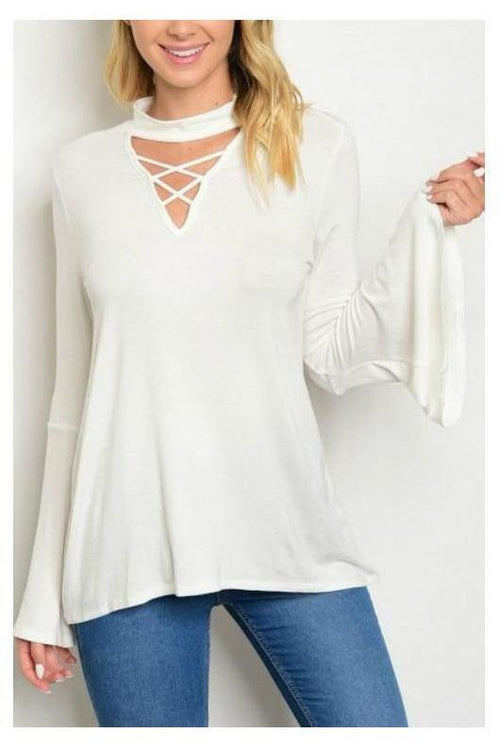 Mock Neck Criss Cross Long Sleeve Top, White