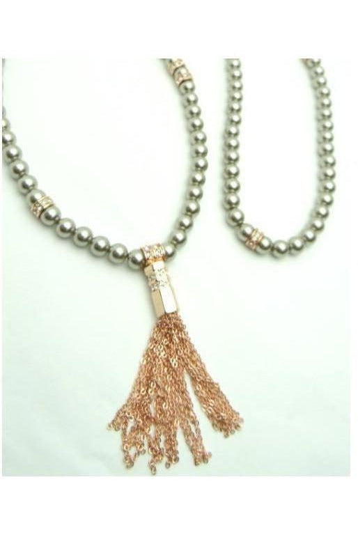Morgan's Pearl Tassel Necklace, Rose Gold - RMC Boutique  - 1