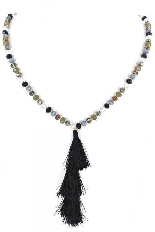 Long Crystal Bead Tassel Necklace