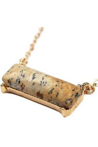 Natural Stone Bar Necklace, Brown - RMC Boutique
