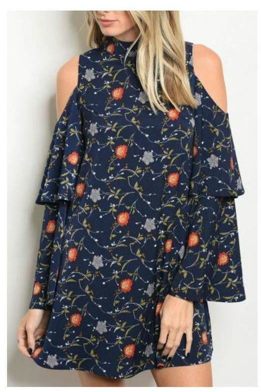 Navy Blue Paisley Cold Shoulder Shift Dress